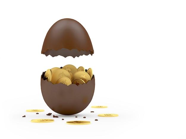 Uovo di pasqua di cioccolato rotto con monete del dollaro.
