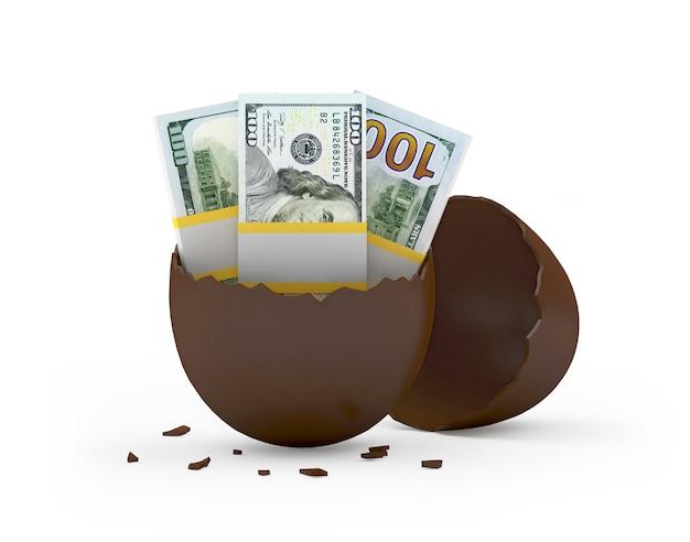 Uovo di cioccolato rotto con banconote da un dollaro