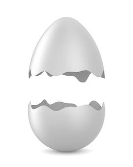 Uovo rotto su bianco. illustrazione 3d isolata