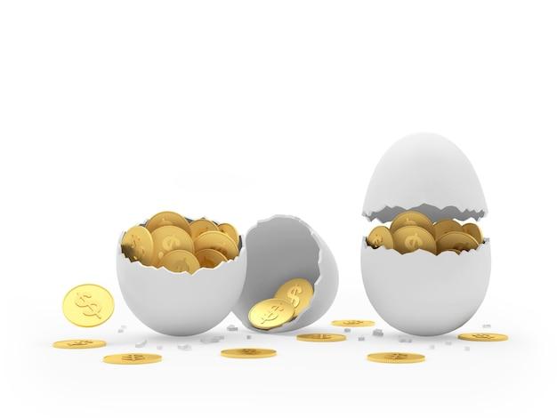 Uova rotte piene di monete in dollari.