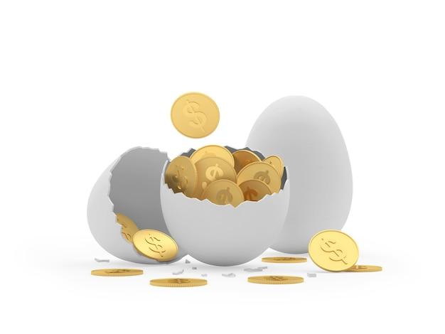 Guscio d'uovo rotto con monete in dollari e un uovo intero