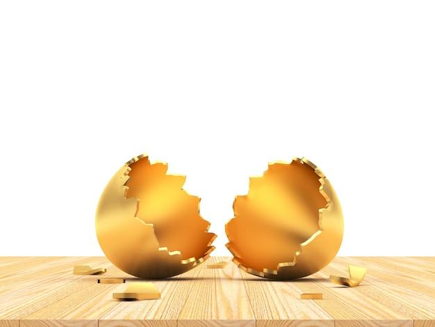 Uovo di pasqua dorato vuoto rotto su legno