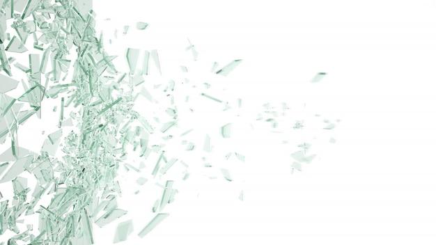 Vetro rotto isolato su bianco.
