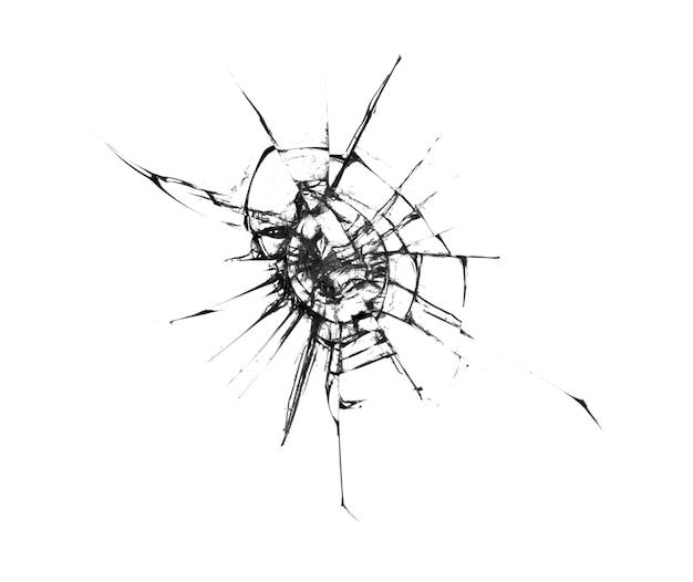 Il vetro rotto sulla finestra ha isolato la crepa su bianco.