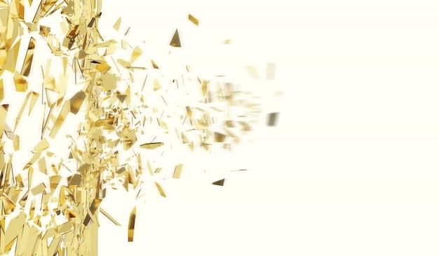 Parete rotta dell'oro isolata su bianco.