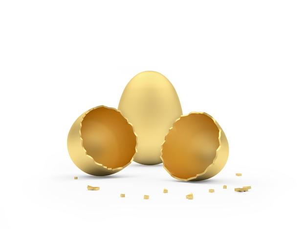 Uovo d'oro rotto accanto a un uovo intero Foto Premium