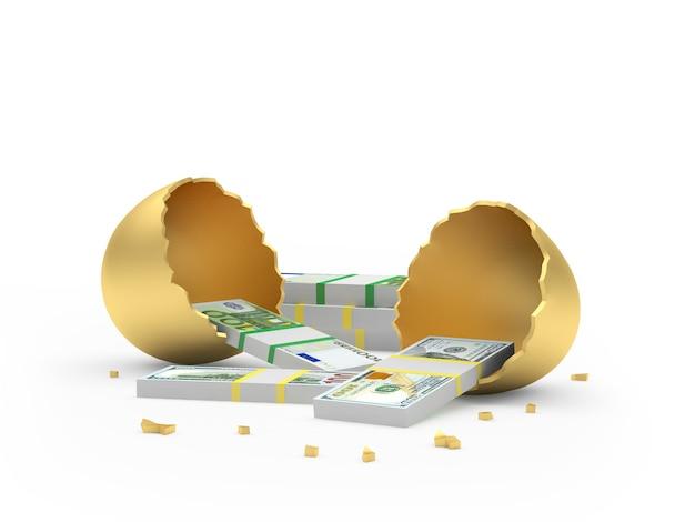 Uovo d'oro rotto con banconote in dollari ed euro