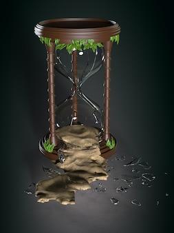 Una clessidra rotta. illustrazione 3d