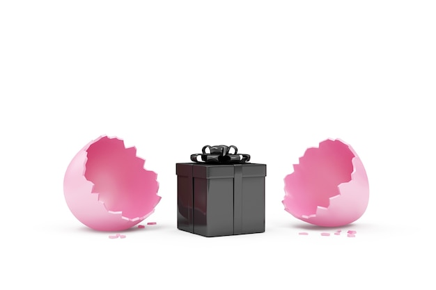Uovo di pasqua rosa rotto con confezione regalo nera isolato su bianco