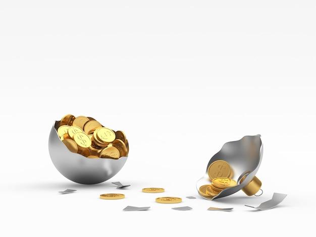 Palla di natale d'argento rotta con monete d'oro del dollaro.