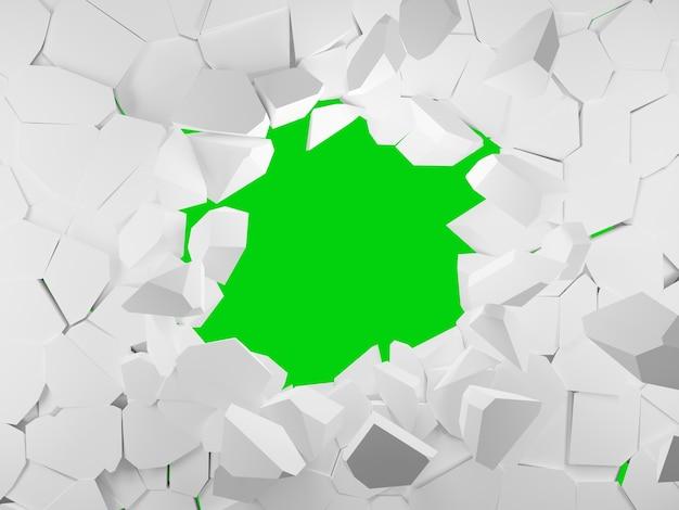 Muro bianco rotto con un buco al centro