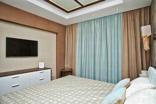 Interior design della camera da letto marrone