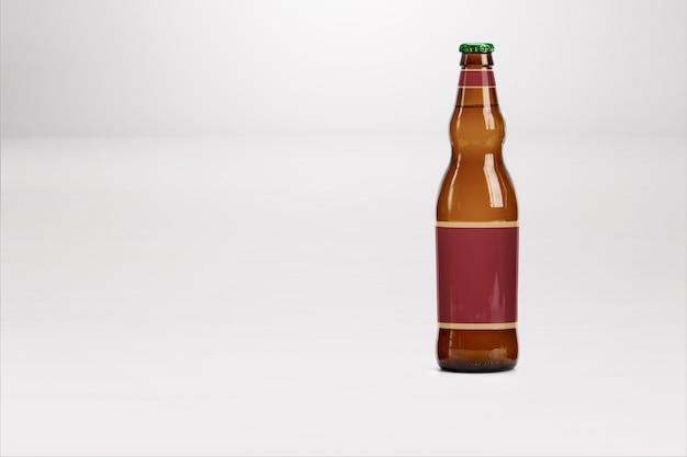 Mock-up di bottiglia di birra marrone isolato su bianco - etichetta vuota