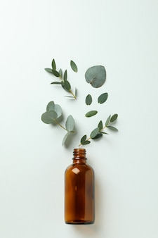 Bottiglia marrone ed eucalipto foglie su sfondo bianco