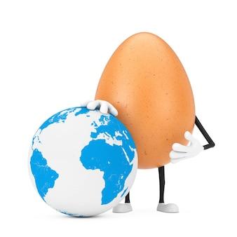 Mascotte del carattere della persona dell'uovo del pollo di brown con il globo della terra su un fondo bianco. rendering 3d