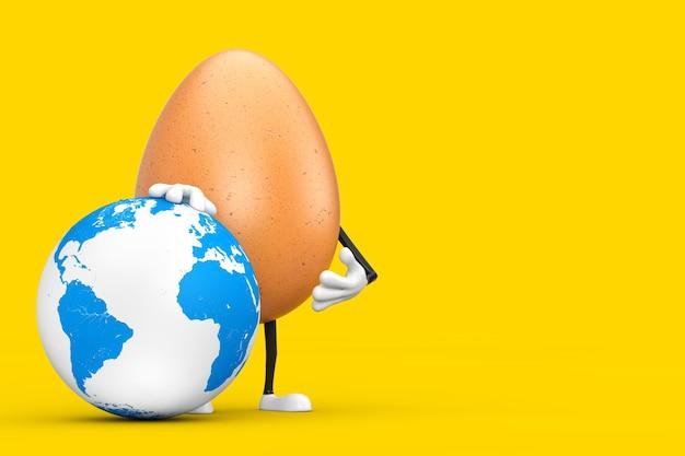 Brown chicken egg persona mascotte del personaggio con il globo terrestre su uno sfondo giallo. rendering 3d