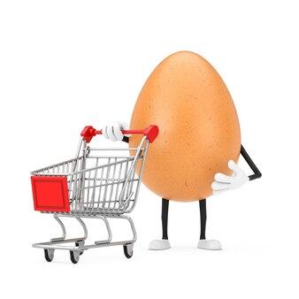Mascotte del carattere della persona dell'uovo del pollo di brown con il carrello del carrello su un fondo bianco. rendering 3d