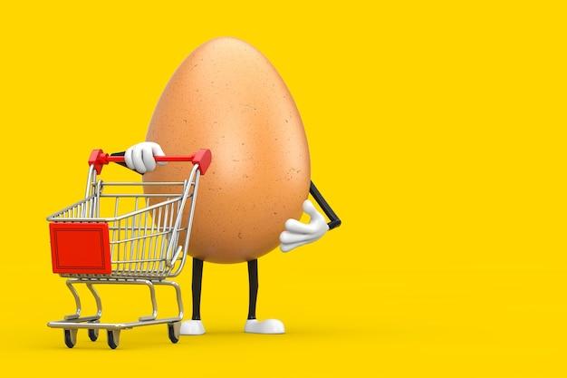 Brown chicken egg persona mascotte di carattere con carrello carrello su sfondo giallo. rendering 3d