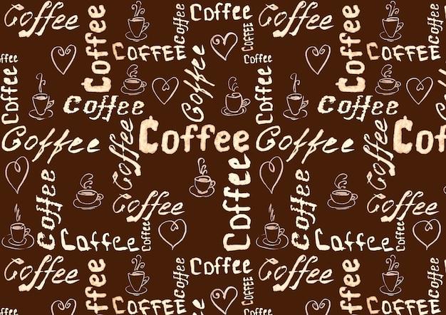 Superficie marrone caffè con scritte, cuori e tazze da caffè