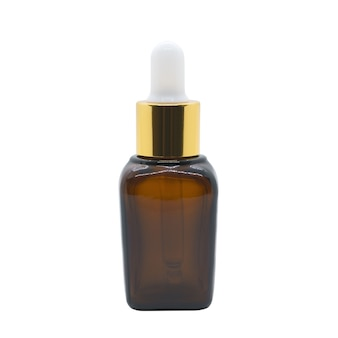 Bottiglia di siero contagocce di vetro bottiglia cosmetica marrone su sfondo bianco, mockup per la progettazione di prodotti cosmetici