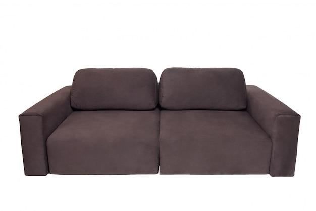 Sofà del tessuto di brown con i cuscini isolati su bianco. mobili moderni
