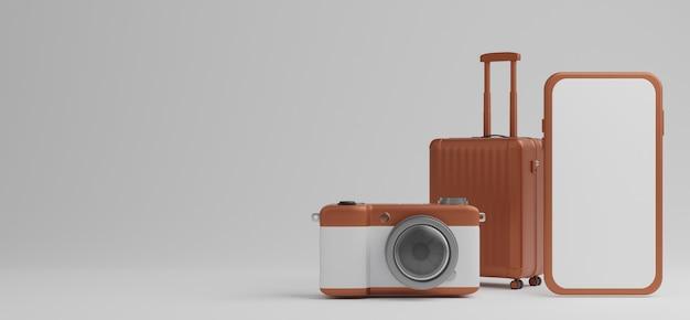 Bagagli marrone con mockup mobile schermo bianco e fotocamera su sfondo bianco concetto di viaggio. rendering 3d