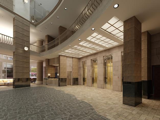 Ascensore in marmo marrone e metallo in un hotel con grandi colonne. luce incorporata nel soffitto. rendering 3d