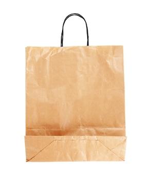 Sacchetto di carta marrone su sfondo bianco