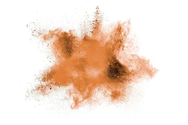 Polvere marrone schizzata su sfondo bianco.