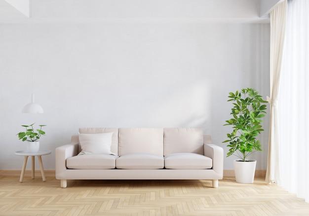 Divano marrone nell'interno del soggiorno con rendering 3d dello spazio della copia