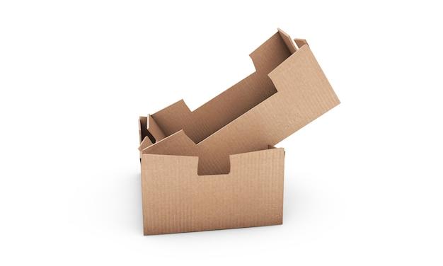 Scatola di cartone quadrata marrone mock up isolato su bianco, rendering 3d