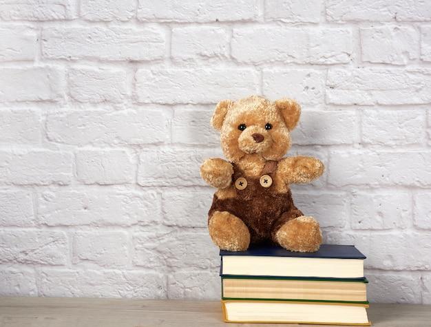 Orsacchiotto marrone che si siede sulla pila di libri sul muro di mattoni bianco