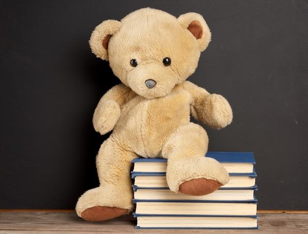 Orsacchiotto marrone seduto su una pila di libri