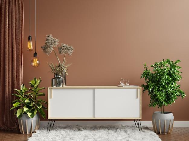 Parete marrone con armadio in soggiorno interno, stile scandinavo, rendering 3d