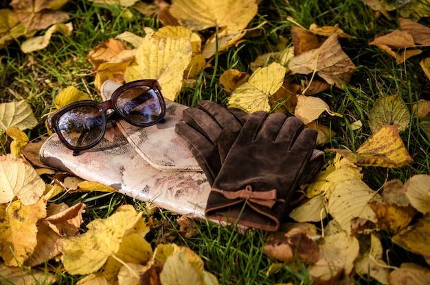 Gli occhiali e i guanti da donna marroni giacciono su una pochette rosa con una stampa di rose su fogliame caduto giallo autunnale tra l'erba verde