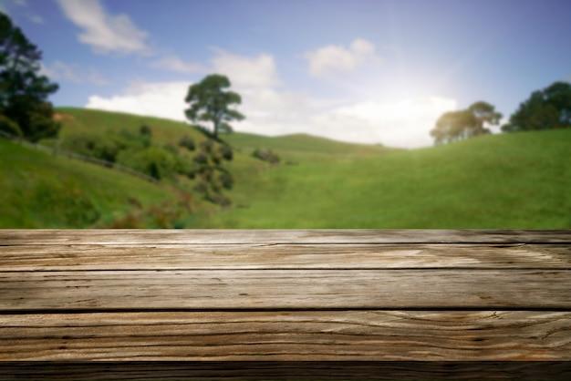 Tavolo in legno marrone in estate fattoria verde con copia spazio vuoto sul tavolo per il modello di visualizzazione del prodotto