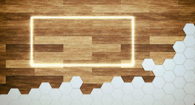 Sfondo in legno marrone con griglia esagonale e cornice al neon