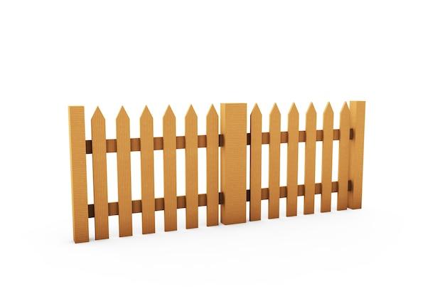 Staccionata in legno marrone isolata su sfondo bianco