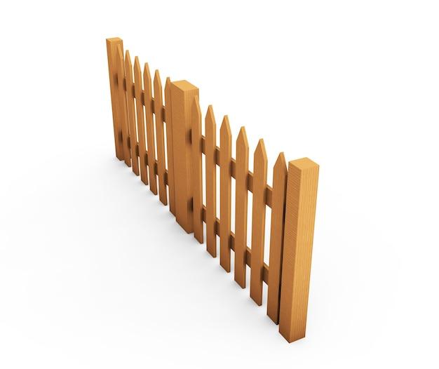 Staccionata in legno marrone isolato su sfondo bianco con plancia parallela