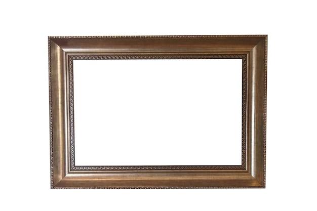 Cornice in legno marrone isolato su sfondo bianco. inquadrando l'immagine. foto di alta qualità