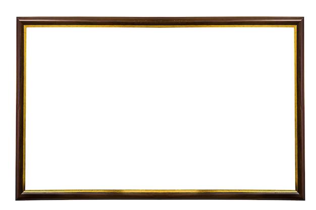 Cornice in legno marrone con isolato su sfondo bianco