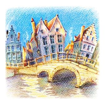 Canale di bruges con ponte, belgio