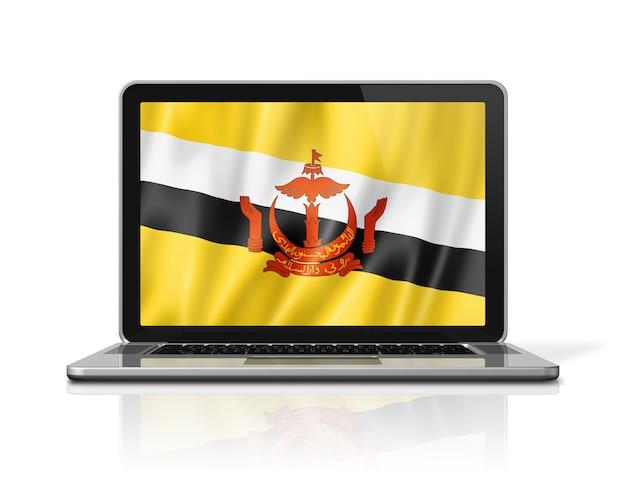 Bandiera del brunei sullo schermo del computer portatile isolato su bianco. rendering di illustrazione 3d.