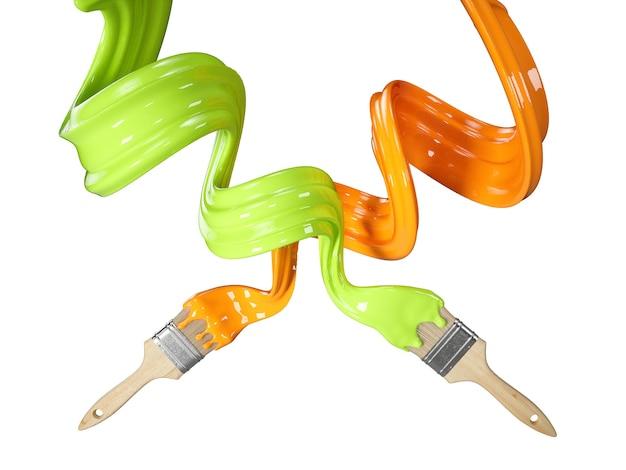 Pennello con spruzzi di flusso di vernice. illustrazione 3d