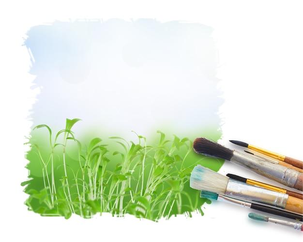 Pennelli per dipingere da vicino su sfondo bianco