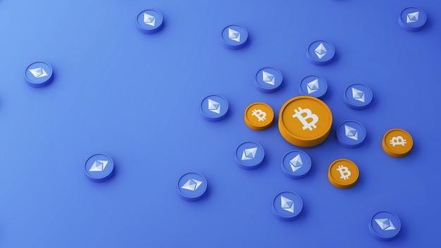 Bticoin e ethereum coin color placement concept 3d illustration