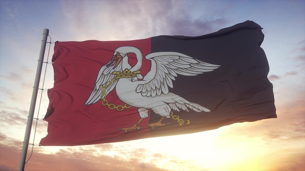 Bandiera del buckinghamshire, inghilterra, che fluttua nel vento, nel cielo e nello sfondo del sole. rendering 3d.