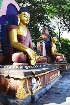 Le statue di buddha nel tempio di swayambhunath. kathmandu, nepal