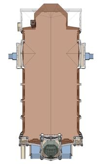 L'edificio della chiesa cattolica, viste da diverse parti. illustrazione tridimensionale su sfondo bianco. rendering 3d.