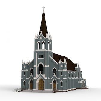 L'edificio della chiesa cattolica, viste da diversi lati. illustrazione tridimensionale su uno sfondo bianco